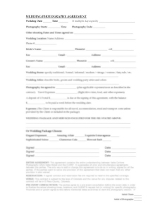 WEDDING PHOTOGRAPHY AGREEMENT NEW