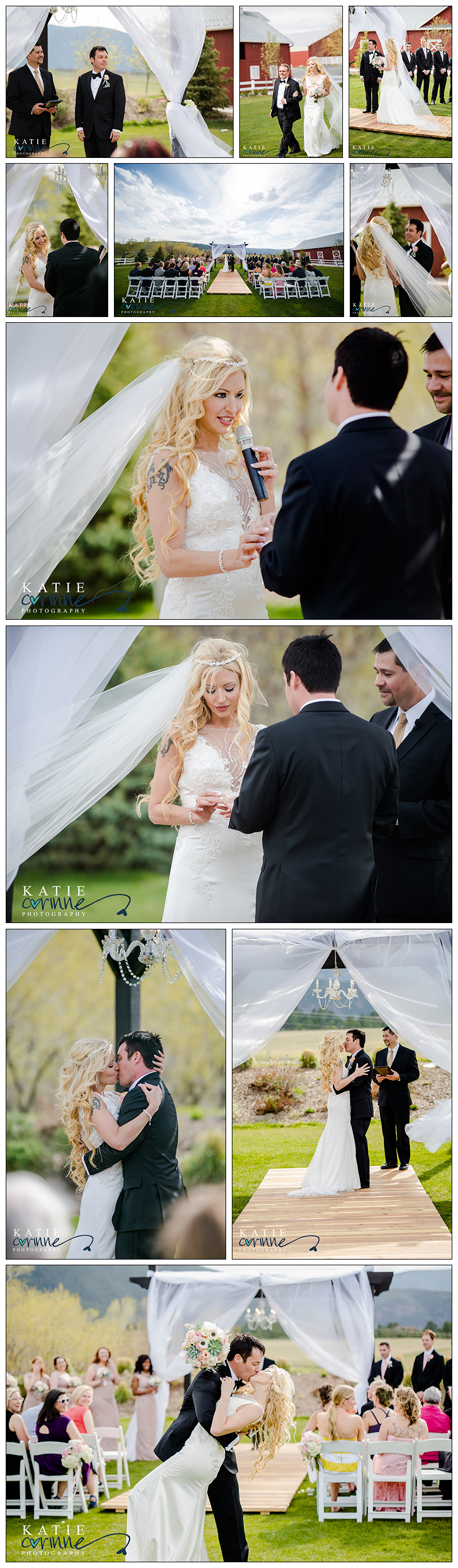 first kiss, first look, ceremony chandelier and draping