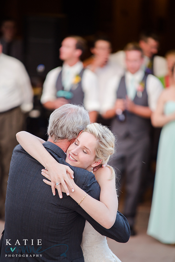 first dance Spruce Mountain, daddy daughter emotional dance Spruce Mountain, Albert's Lodge reception at Spruce Mountain Ranch, katie corinne wedding photography, palmer lake wedding photographer, colorado springs wedding photographer, castle rock wedding photographer, denver wedding photographer